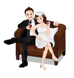 Romantic couple sitting on sofa and drinking vector image