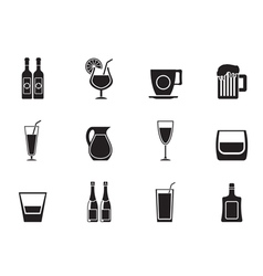 Silhouette different kind of drink icons vector