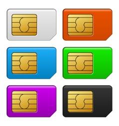 Sim Card Color Set vector image