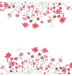 Detailed contour square frame with herbs roses vector image vector image
