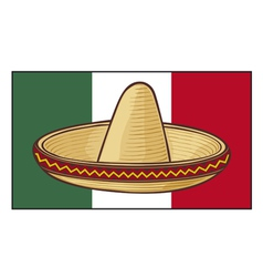mexico flag with sombrero vector image