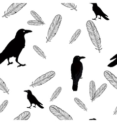 Seamless crows and feathers vector image