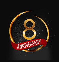 template gold logo 8 years anniversary with red vector image