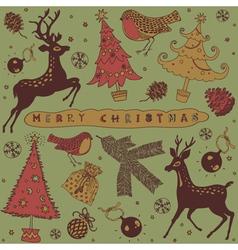 Vintage Christmas Deer Card vector image