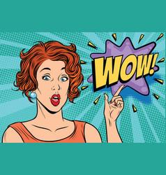 wow pop art woman vector image vector image