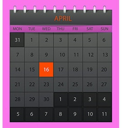April 2014 vector image vector image