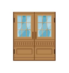 Classic double wooden doors closed elegant front vector