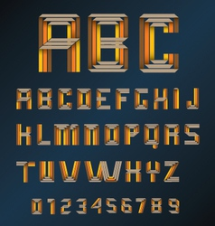 colorful retro origami alphabet and numbers 2 vector image