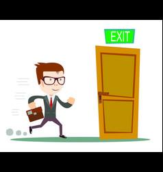 exit businessman running to opened door vector image vector image