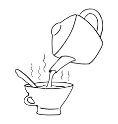 teapot with teacup vector image vector image