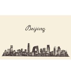 Beijing skyline engraved drawn sketch vector image