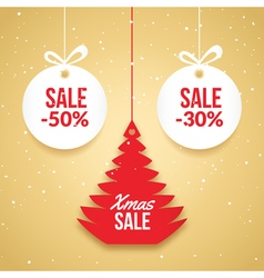 Christmas balls sale Special offer tag New year vector image vector image
