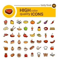 color big food icons set vector image vector image