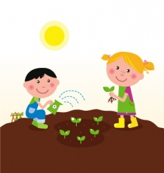 kids watering planting plant vector image vector image