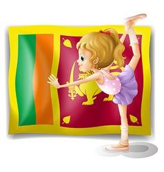 The flag of Sri Lanka and the gymnast vector image