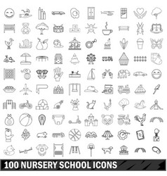 100 nursery school icons set outline style vector