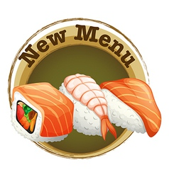 A new menu label with sushi vector