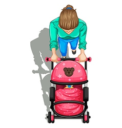 A topview of a mother pushing a stroller with a vector image