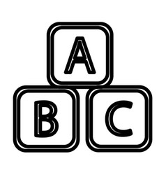 Abc blocks abc cubes child education line art vector