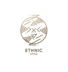 Abstract nature logo geometric badge vector