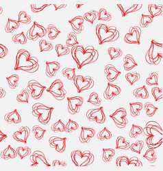 abstract seamless pattern with hatched hearts on vector image