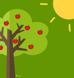 Abstract tree with apples vector image