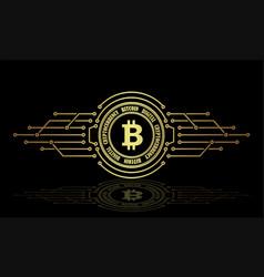 An abstract bitcoin sign with a mirror image vector