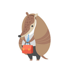 Armadillo businessman standing with briefcase vector
