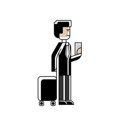 Asian man with travel bag and ticket in hands vector