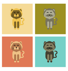 Assembly flat icons pet cat vector