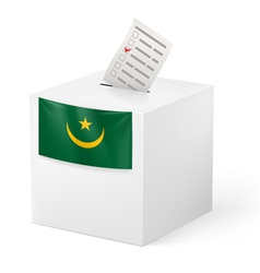 Ballot box with voting paper Mauritania vector