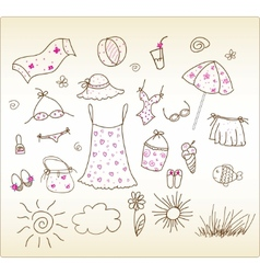 Beach accessories cute vector set vector