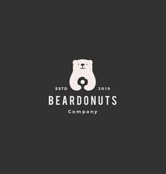 bear donuts logo hipster retro vintage icon vector image