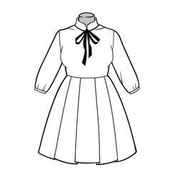beautiful romantic summer high-waisted dress vector image