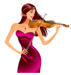 beautiful woman playing violin vector image