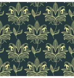 Beige seamless paisley floral pattern vector image