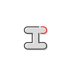 black red grey letter i alphabet logo design icon vector image