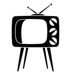 black retro tv on high stand silhouette vector image