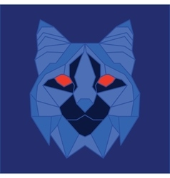 Blue low poly bobcat vector