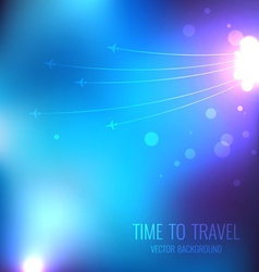 Blue travel background with airplanes vector