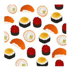 Bright background rolls and sushi on a white backg vector