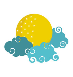 bright moon clouds sky cartoon isolated icon style vector image