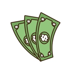 cartoon money bills dollar cash vector image