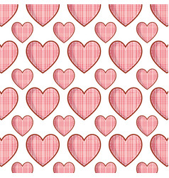 Checkered hearts love pattern background vector