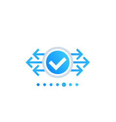 Checkmark with arrows element vector