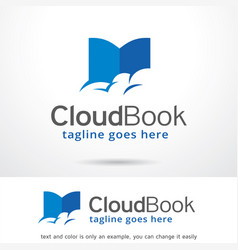 cloud book logo template design vector image