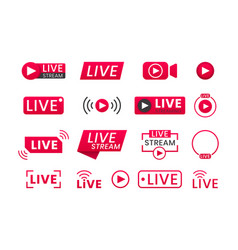 collection live streaming icons buttons vector image