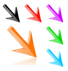 colored down 3d arrows shiny bright signs vector image