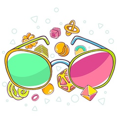 Colorful of green and red sunglasses on whit vector