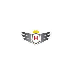 creative shield wings crown logo design symbol vector image